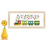 Kids cross stitch pattern - counted cross stitch pattern - Flower Train - cross stitch for baby - wall art for nursery - new baby patterns