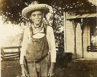 Original 1910s Black & White photograph of a young Boy Playing Cowboy ~ B259 from the USA