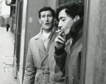 Original 1960s Black & White photograph of Two young Men Smoking ~ B242 Serbia