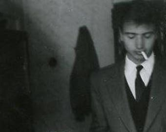 Original the 1960s Black & White photograph of a young Man Smoking his Cigarette ~ B248 from Serbia