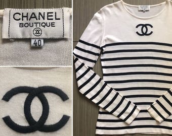 e946a3c61d943a CHANEL Authentic CC Logo Rare Iconic Striped Black and White Vintage Long  Sleeved T-Shirt Blouse Top Classic