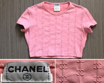 35af1538b009b3 CHANEL Authentic CC Logos Iconic Rare Pink Sporty Vintage Crop Top Tank  Blouse
