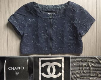 3d464dd31a62ae CHANEL Authentic CC Logos Iconic Rare Zip Up Vintage Metallic Crop Jacket Top  Blouse