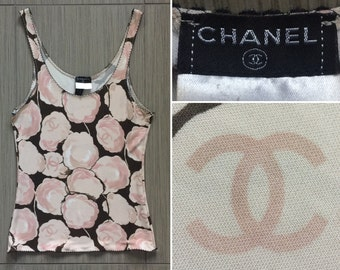 fef7fab6f4f45a CHANEL Authentic CC Logos Iconic Rare Camellia Vintage Tank Top Blouse