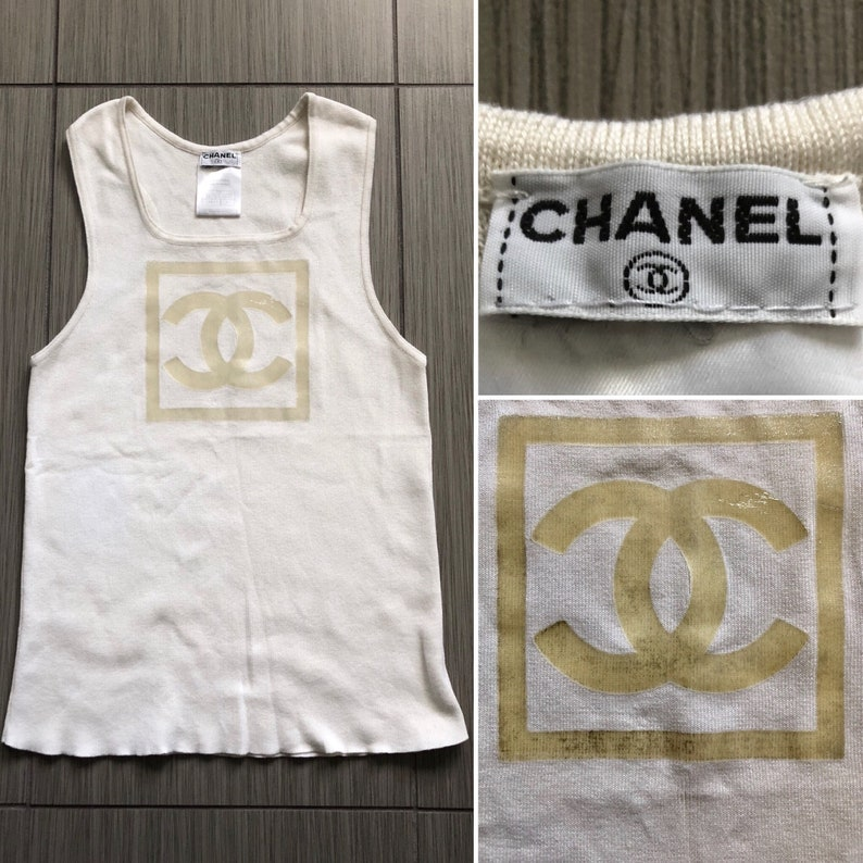 6bc7c80b533873 CHANEL Authentic CC Logo Gold Metallic & Beige Off White | Etsy