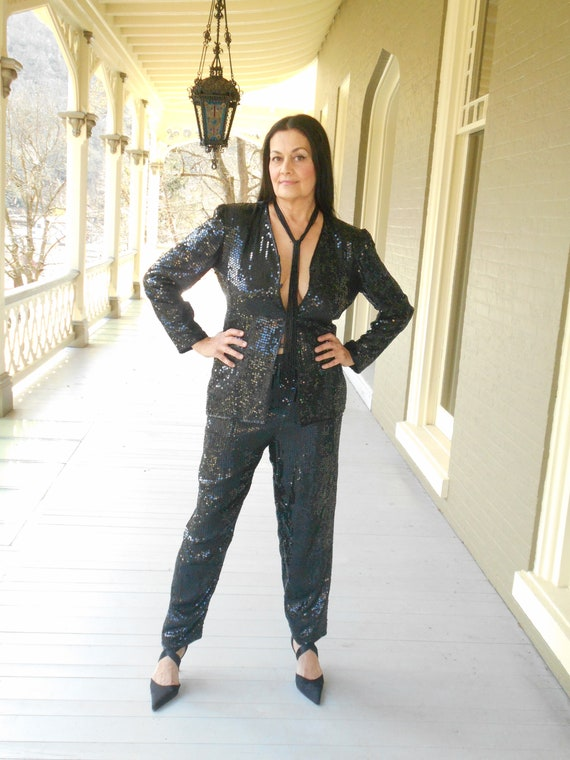 Sensational/Sexy 1990's Black Sequin Pant Suit - … - image 2