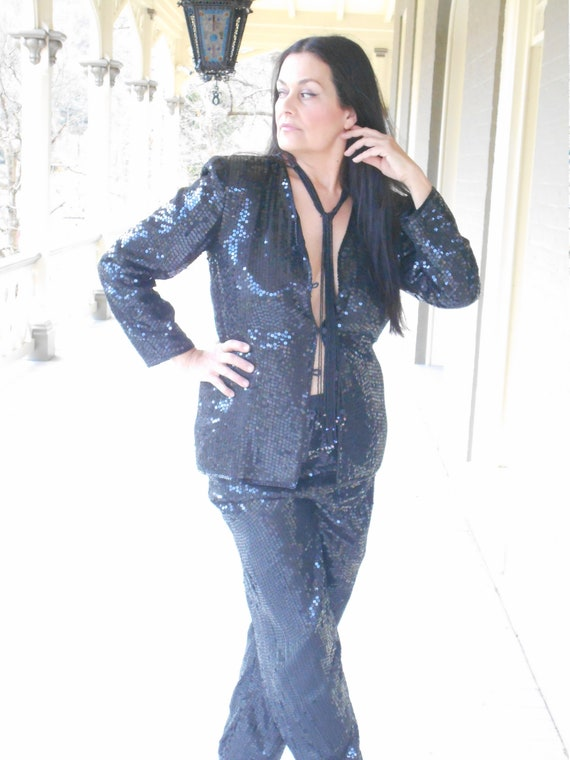 Sensational/Sexy 1990's Black Sequin Pant Suit - … - image 3