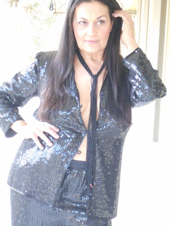 Sensational/Sexy 1990's Black Sequin Pant Suit - … - image 4