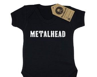 Metalhead printed baby vest alternative goth rock
