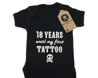 18 years until my first tattoo printed baby vest alternative goth rock