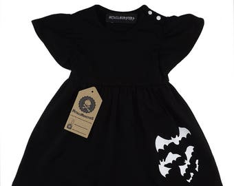 Black bats girls cotton dress