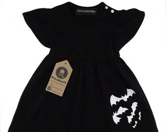 Black bats baby dress