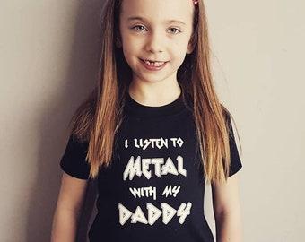 I listen to Metal with my Daddy childrens T shirt alternative goth rock