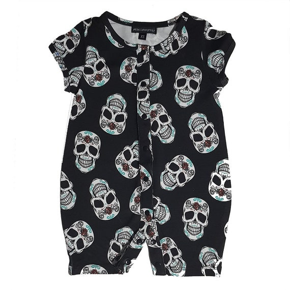 Two Pirate Skull /& Striped Baby Bandana Bibs Goth Rock Alternative Punk