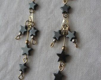 Hematite Star gold filled earrings