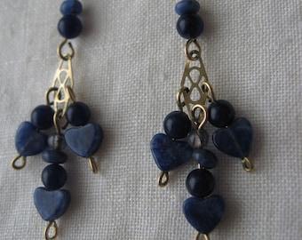 Natural Sodalite Gemstone Hearts Dangle Earrings