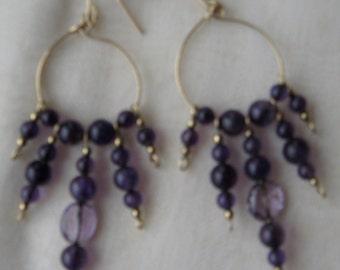 Amethsyt Earrings - Gemstone Beads