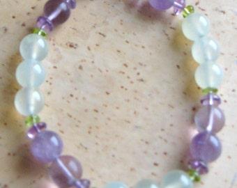 Amethyst, Fluorite, Peridot and Bowenite Bracelet - gemstone beads