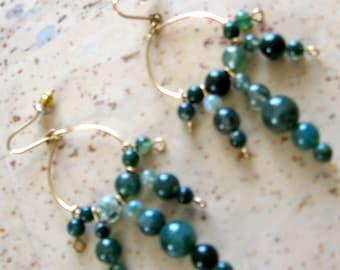 Moss Agate Earrings - Gemstone Beads