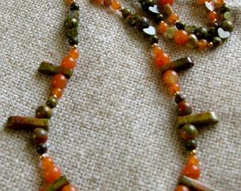 Orange & Olive Gemstone Bead Necklace - Aventurine and Unakite