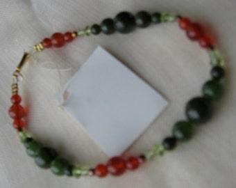 Carnelian, Jade and Peridot Gemstone Bead Bracelet or Anklet - RedOrange, Deep Olive and Chartreuse