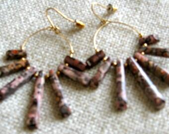 Leopard Jasper Earrings - Gemstone Beads