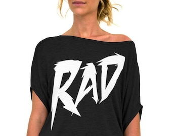 e6a80025913d0a Rad - 80 s Theme Slouchy Tee Shirt (Small - Plus Sizes) - More Colors  Available - Black