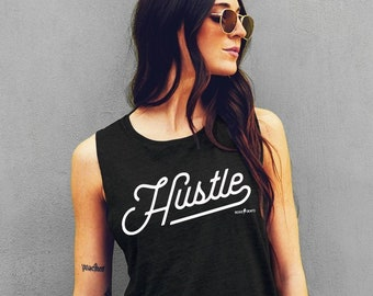 554d52cf Hustle Muscle Tank, Gym Shirt Muscle Tee for Women, Fitness Clothing for  women