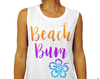 3de943ad3b154 Beach Bum - White Muscle Tee Tank Top T-Shirt with Unicorn Ombre Full Color  Print - Work Out at the Beach - Spring   Summer Gym Tank Top