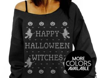 Happy Halloween Witches, Halloween Sweatshirt, Off the Shoulder, Oversized, Slouchy Sweatshirt, Halloween Costume, Women's Clothing, Witch