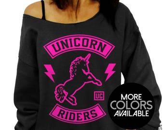 Unicorn Sweatshirt, Unicorn Riders, Slouchy Sweatshirt, Oversized, Plus Size, Off Shoulder, Gift for Her, Unicorn Lover, Motorcycle Club