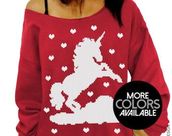 Valentine Unicorn, Valentines Day, Sweatshirt, Unicorn and Hearts, Valentines Shirt - Slouchy Sweatshirt - Plus Sizes, Off the Shoulder,