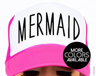 72a36ef7 Mermaid Hat, Beach Hat, Women's Hat, Trucker Hat, Adjustable Snap-Back, OTTO  Cap, Unisex, Accessories, Mermaid Accessories