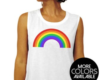 e872555d3 Rainbow Tank Top - Gay Pride Muscle Tee - Tank Top, T-Shirt, Gay Pride Shirt,  LGBT Shirt, Rainbow Shirt, Gym Tank, Muscle tank,Workout Shirt