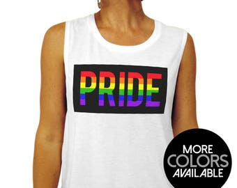 2ac5304f5 Gay Pride Shirt - Rainbow Pride Block - Muscle Tee Tank Top - Gay Pride  Shirt, Womens Clothing, Pride Tank Top, Womens Shirt,Muscle Tank Top
