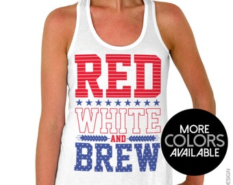 Red White and Brew Off the Shoulder 4th of July Memorial Day Slouchy Sweatshirt Junior /& Oversized sweater options Women/'s Clothing