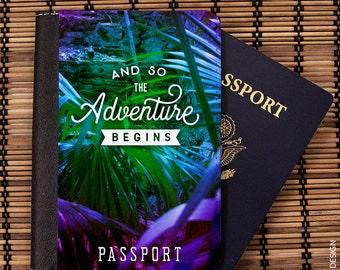 Gift for Traveler, Passport Holder, Stocking Stuffer, Passport Cover, And So The, Adventure Begins, Passport Cover, Travel Wallet, Luggage