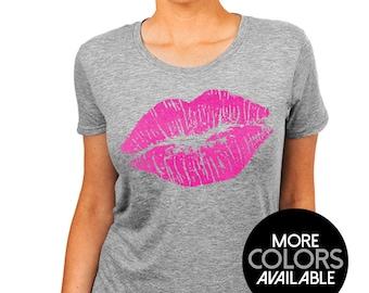 Lips Kiss, Valentine's Day T-Shirt, Lipstick Kiss Print, Birthday TShirt, Gift for her, Women's Clothing, Scoop Neck Boyfriend Fit Tee Shirt