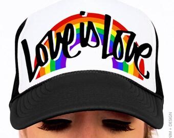 Gay Pride Hat - Pride Trucker Hat - Script Love is Love Rainbow Trucker -  Gay Pride Parade Hat 7bb7a9102465