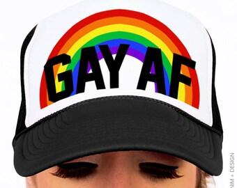 Gay Pride Hat - Gay AF Hat - Snapback Trucker Hat d899c20f82c
