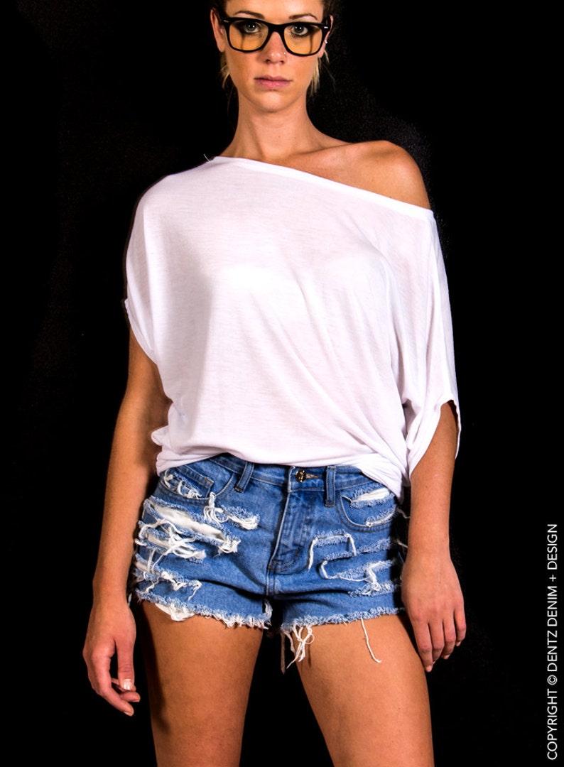 High Waisted Jean Shorts  Shredded  Blue Denim Shorts High image 0