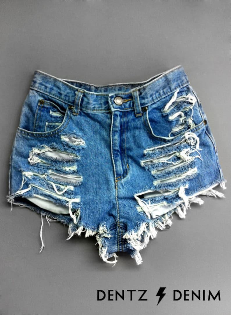 adbeb7c8b2 High Waisted Jean Shorts Shredded Blue Denim Shorts High