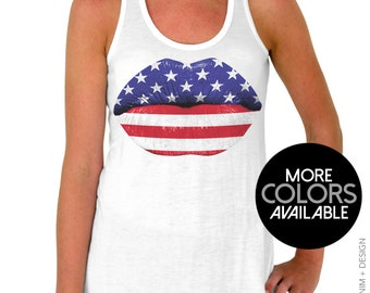 4th of July Tank Top - American Flag Lips Red White and Blue Lipstick - Fourth of July Flowy Tank Top, Patriotic Shirt, Summer Beach Tank