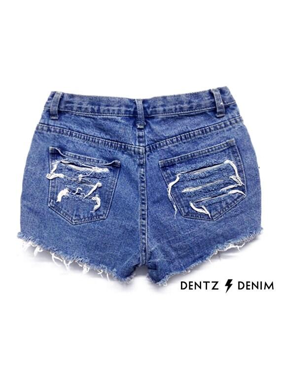 13aeb4d6cb High Waisted Blue Denim Shorts Front Pocket Stud   Shredded