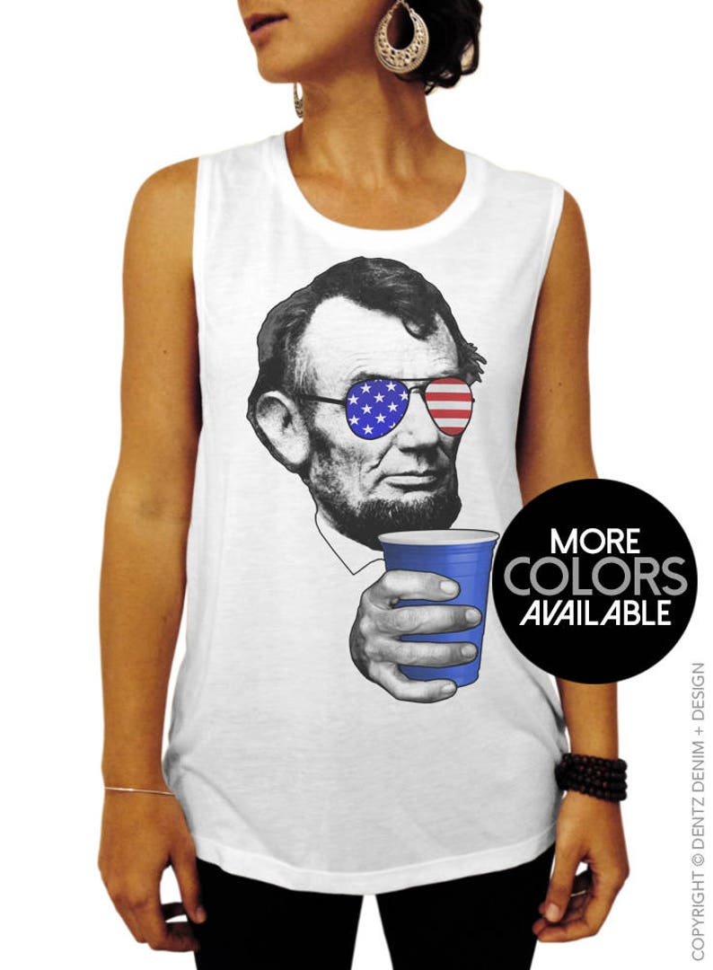 25324213b6e05f 4th of July Shirt Drinkin Lincoln American Flag Muscle Tee