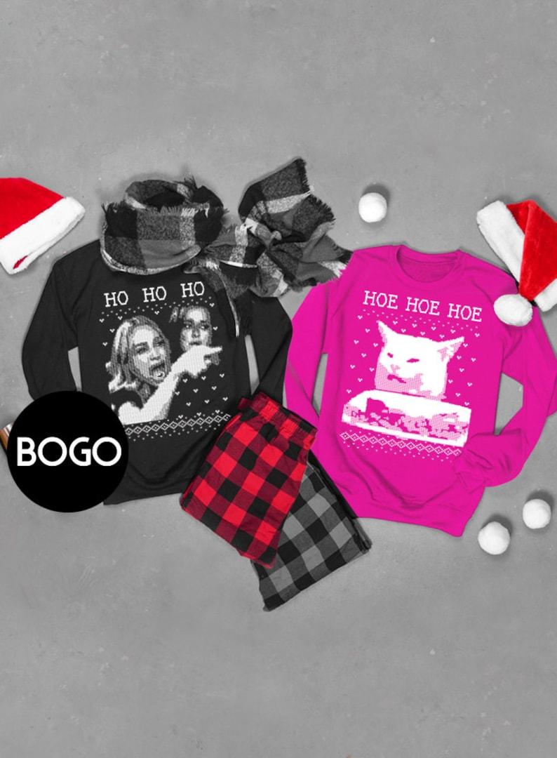 BOGO SET of Ugly Christmas Sweaters Ho Ho HoHoe Hoe image 3