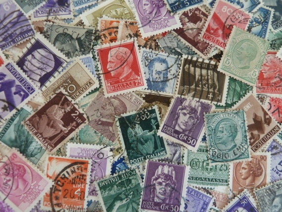 Italian Colors Vintage Stamps From Italy For Art Projects Collage Card Making Jewelry Decoupage Etc