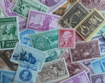 Unused Postage Stamps - 50 Vintage U.S. Postage Stamps