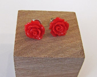 Red - Rose Flower Stud Earrings - Hypoallergenic