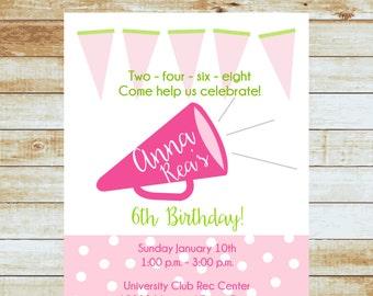 Personalized Cheer Birthday Invitation / Cheerleader / Megaphone / Free Shipping